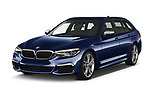 2019 BMW 5-Series - 5 Door Wagon Angular Front automotive stock photos of front three quarter view