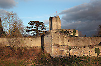 12th and 13th centuries' enlargements of the Gisors fortified castle with fortifications and towers, Gisors, Eure, France. Gisors was the main military stronghold between the two vexins, the French and the Norman ones. Listed as historical monument in 1862. Picture by Manuel Cohen