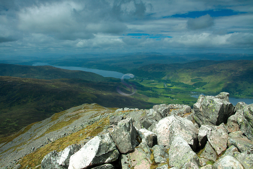 Kinloch Rannoch and Loch Rannoch from the summit of Schiehallion, Perthshire