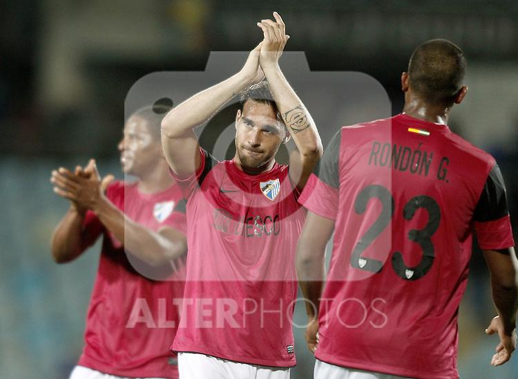 Malaga's Jesus Gamez celebrates during La Liga Match. March 03, 2012. (ALTERPHOTOS/Alvaro Hernandez)