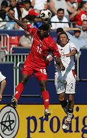 July 24, 2005: East Rutherford, NJ, USA:  USMNT's Frankie Hejduk (2) and Luis Tejada (18) of Panama go up for a header during the CONCACAF Gold Cup Finals at Giants Stadium.  The USMNT won 3-1 on penalty kicks.