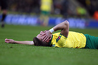 Ivo Pinto of Norwich City lies in agony after a clash of heads during Norwich City vs Chelsea, Emirates FA Cup Football at Carrow Road on 6th January 2018