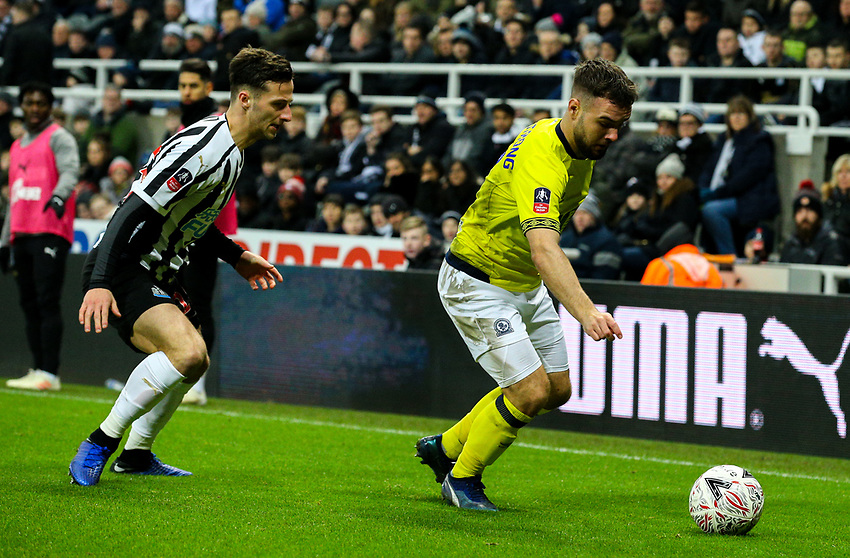 Blackburn Rovers' Adam Armstrong takes on Newcastle United's Jamie Sterry<br /> <br /> Photographer Alex Dodd/CameraSport<br /> <br /> Emirates FA Cup Third Round - Newcastle United v Blackburn Rovers - Saturday 5th January 2019 - St James' Park - Newcastle<br />  <br /> World Copyright © 2019 CameraSport. All rights reserved. 43 Linden Ave. Countesthorpe. Leicester. England. LE8 5PG - Tel: +44 (0) 116 277 4147 - admin@camerasport.com - www.camerasport.com