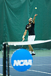 Petros Chrysochos of the Wake Forest Demon Deacons during the finals of the 2018 NCAA Men's Tennis Singles Championship at the Wake Forest Indoor Tennis Center on May 28, 2018 in Winston-Salem, North Carolina.  Petros Chrysochos defeated teammate Borna Gojo 6-3 6-3.  (Brian Westerholt/Sports On Film)