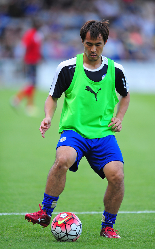 Leicester City&rsquo;s Shinji Okazaki during the pre-match warm-up <br /> <br /> Photographer Chris Vaughan/CameraSport<br /> <br /> Football - Football Friendly - Lincoln City v Leicester City - Tuesday 21st July 2015 - Sincil Bank - Lincoln<br /> <br /> &copy; CameraSport - 43 Linden Ave. Countesthorpe. Leicester. England. LE8 5PG - Tel: +44 (0) 116 277 4147 - admin@camerasport.com - www.camerasport.com
