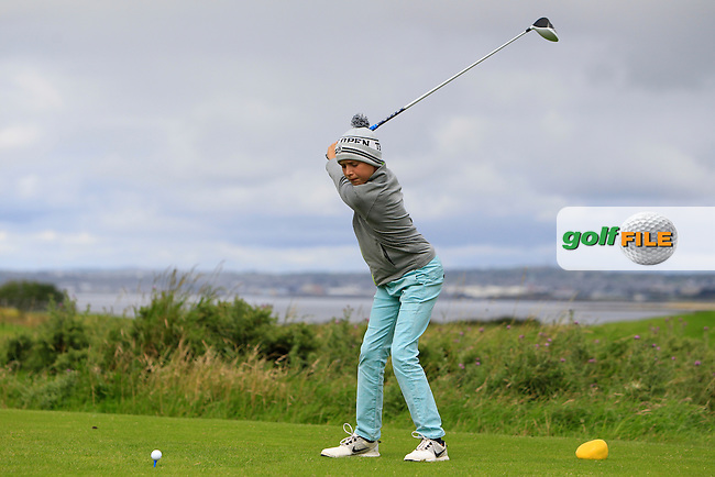 Daniel Flanagan (Co. Sligo) on the 1st tee during the Under 14 Close Strokeplay of the GolfStyle Connacht Junior Close Championship Finals at Galway Bay Golf Club on Tuesday 11th August 2015.<br /> Picture:  Thos Caffrey / www.golffile.ie
