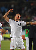 U.S. defender Jay DeMerit celebrates the U.S. win. The United States won Group C of the 2010 FIFA World Cup in dramatic fashion, 1-0, over Algeria in Pretoria's Loftus Versfeld Stadium, Wednesday, June 23rd..