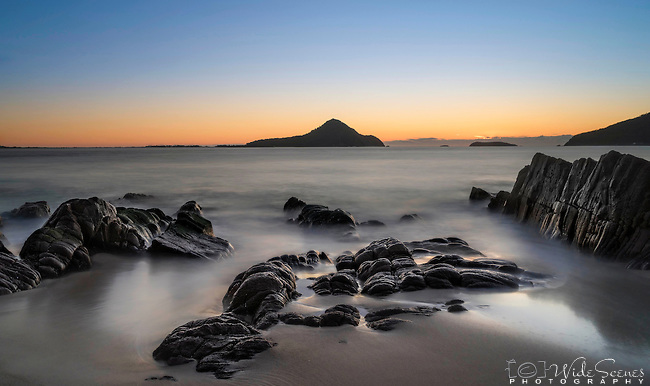 Sunrise across Shoal Bay from Halifax Point in Port Stephens, NSW Australia