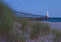 The Manistee Light sits at the end of the Manistee pier in Pre-Dawn Light
