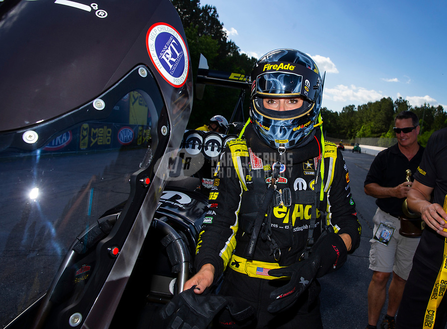 May 6, 2018; Commerce, GA, USA; NHRA top fuel driver Leah Pritchett after winning the Southern Nationals at Atlanta Dragway. Mandatory Credit: Mark J. Rebilas-USA TODAY Sports