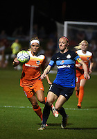Kansas City, MO - Saturday May 07, 2016: Houston Dash forward Rachel Daly (3)) against FC Kansas City defender Becky Sauerbrunn (4) during a regular season National Women's Soccer League (NWSL) match at Swope Soccer Village. Houston won 2-1.