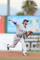 Joel Seddon (21) of the Stockton Ports pitches during a game against the Inland Empire 66ers at San Manuel Stadium on June 28, 2015 in San Bernardino, California. Stockton defeated Inland Empire, 4-1. (Larry Goren/Four Seam Images)