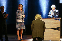 - NO TABLOIDS, NO SITE WEB - Winners Evening of the Prince Pierre of Monaco Foundation at the Opera Garnier, Monaco. H.S.H. Prince Albert II of Monaco and H.R.H. Princess Caroline of Hanover attend the ceremony and Princess Caroline gives two literary prizes : the Literary Prize to Adonis for his whole work and the 'Bourse de la DÈcouverte' to Paul Greveillac for his book 'Les 'mes Rouges'. H.R.H. Princess Caroline of Hanover, ADONIS and FrÈdÈric Mitterrand.