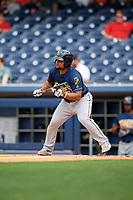New Orleans Baby Cakes designated hitter Tomas Telis (18) squares around to bunt during a game against the Nashville Sounds on April 30, 2017 at First Tennessee Park in Nashville, Tennessee.  The game was postponed due to inclement weather in the fourth inning.  (Mike Janes/Four Seam Images)