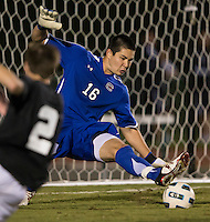 The number 5 ranked Charlotte 49ers play the University of South Carolina Gamecocks at Transamerica field in Charlotte.  Charlotte won 3-2 in the second overtime.  Alex Long (16)