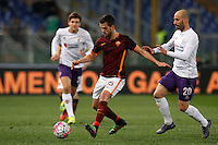 Calcio, Serie A: Roma vs Fiorentina. Roma, stadio Olimpico, 4 marzo 2016.<br /> Roma&rsquo;s Miralem Pjanic, left, is challenged by Fiorentina&rsquo;s Borja Valero during the Italian Serie A football match between Roma and Fiorentina at Rome's Olympic stadium, 4 March 2016.<br /> UPDATE IMAGES PRESS/Riccardo De Luca