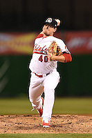 Peoria Chiefs pitcher Brandon Lee (40) delivers a pitch during a game against the Kane County Cougars on June 2, 2014 at Dozer Park in Peoria, Illinois.  Peoria defeated Kane County 5-3.  (Mike Janes/Four Seam Images)