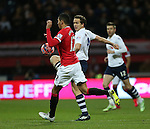 Preston's Kevin Davies tussles with Manchester United's Chris Smalling<br /> <br /> FA Cup - Preston North End vs Manchester United  - Deepdale - England - 16th February 2015 - Picture David Klein/Sportimage