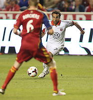 Dwayne De Rosario #7 of D.C. United moves the ball down filed during a game against Real Salt Lake during the first half of the U.S. Open Cup Final on October  1, 2013 at Rio Tinto Stadium in Sandy, Utah.