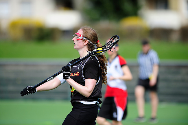 FRANKFURT AM MAIN, GERMANY - April 14: Jella Kandziora #4 of Germany during the Deutschland Lacrosse International Tournament match between Germany vs Austria on April 14, 2013 in Frankfurt am Main, Germany. Germany won, 10-4. (Photo by Dirk Markgraf)