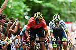 Greg Van Avermaet (BEL) CCC Team first up the Muur in Geraardsbergen during Stage 1 of the 2019 Tour de France running 194.5km from Brussels to Brussels, Belgium. 6th July 2019.<br /> Picture: Colin Flockton | Cyclefile<br /> All photos usage must carry mandatory copyright credit (© Cyclefile | Colin Flockton)