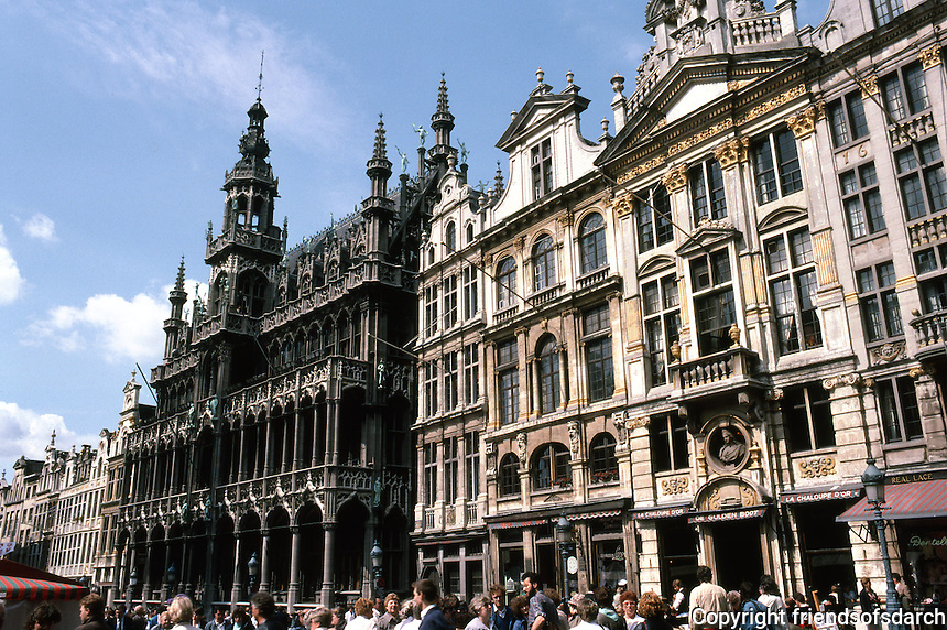 """Brussels: Grand Place, North Side: King's House to left, XVC. Destroyed 1872, rebuilt 1873. """"Style Flamboyant.""""  Photo '87."""