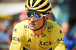 Race leader Yellow Jersey Greg Van Avermaet (BEL) BMC Racing Team at sign on before the start of Stage 9 of the 2018 Tour de France running 156.5km from Arras Citadelle to Roubaix, France. 15th July 2018. <br /> Picture: ASO/Pauline Ballet | Cyclefile<br /> All photos usage must carry mandatory copyright credit (&copy; Cyclefile | ASO/Pauline Ballet)