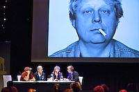 Utrecht, 2 oktober 2014<br /> Nederlands FIlm Festival 2014<br /> NFF Talkshow olv Art Rooijakkers.<br /> Vlnr Thomas Kist, Gijs van de Westelaken, Renee Fokker over Theo van Gogh<br /> Foto Felix Kalkman