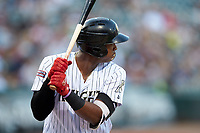 Eloy Jimenez (16) of the Charlotte Knights at bat against the Buffalo Bison at BB&T BallPark on August 14, 2018 in Charlotte, North Carolina. The Bison defeated the Knights 14-5.  (Brian Westerholt/Four Seam Images)