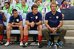 13 July 2015: U.S. head coach Jurgen Klinsmann (GER) (right) with assistants Tab Ramos (USA) (left) and Andreas Herzog (AUT) (center). The United States Men's National Team played the Panama Men's National Team at Sporting Park in Kansas City, Kansas in a 2015 CONCACAF Gold Cup Group A match.