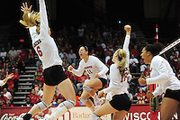 6' junior, Allison Wack celebrates a score against Duke on Friday at the Field House in a UW volleyball game in Madison, Wisconsin
