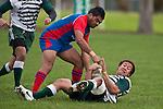 Calos Waretini throws Tim Nanai-Williams to ground. Counties Manukau Premier Club Rugby game between Manurewa and Ardmore Marist played at Mountfort Park, Manurewa on Saturday June 19th 2010..Manurewa won the game 27 - 10 after leading 15 - 5 at halftime.