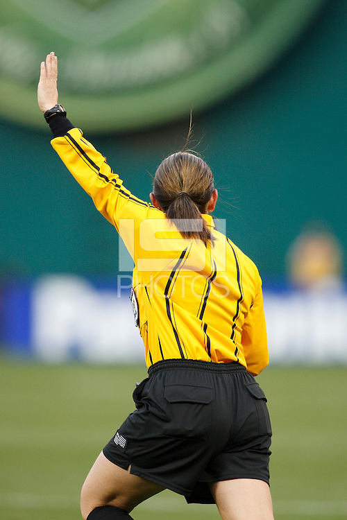 Referee Sandra Serafini indicates a free kick. The women's national team of the United States defeated Canada 6-0 during an international friendly at Robert F. Kennedy Memorial Stadium in Washington, D. C., on May 10, 2008.