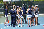 23 April 2015: Notre Dame Jay Louderback talks to his team. The Notre Dame University Fighting Irish played the Florida State University Seminoles at the Cary Tennis Park in Cary, North Carolina in a 2015 NCAA Division I Women's Tennis and Atlantic Coast Conference Tournament First Round match. Florida State won the match 4-3.