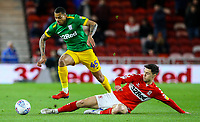 Preston North End's Lukas Nmecha skips away from Middlesbrough's Mo Basic<br /> <br /> Photographer Alex Dodd/CameraSport<br /> <br /> The EFL Sky Bet Championship - Middlesbrough v Preston North End - Wednesday 13th March 2019 - Riverside Stadium - Middlesbrough<br /> <br /> World Copyright &copy; 2019 CameraSport. All rights reserved. 43 Linden Ave. Countesthorpe. Leicester. England. LE8 5PG - Tel: +44 (0) 116 277 4147 - admin@camerasport.com - www.camerasport.com