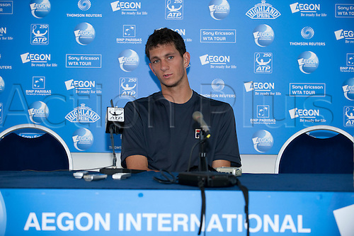 17th June 2010 Aegon International Tennis: James Ward of GBR gives a press conference after playing Alexandr Dolgopolov of UKR in the quarter final,  Aegon International Tennis Tournament Eastbourne, Played at Devonshire Park, England.