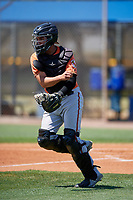 Baltimore Orioles catcher Alfredo Gonzalez during a Minor League Extended Spring Training game against the Tampa Bay Rays on April 17, 2019 at Charlotte County Sports Complex in Port Charlotte, Florida.  (Mike Janes/Four Seam Images)