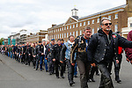 LONDON, ENGLAND, 22 May ,2014.  Bikers march from Woolwich Barracks to lay a wreath marking the first anniversary of the murder of Fusilier Lee Rigby  near his Woolwich barracks.