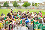 Barry John Keane signing autographs at Holy Family School, Tralee on Friday after he refereed the final Holy Family tournament on Friday..