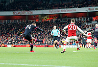 Steve Mounié of Huddersfield Town shoots on goal during the Premier League match between Arsenal and Huddersfield Town at the Emirates Stadium, London, England on 29 November 2017. Photo by Carlton Myrie / PRiME Media Images.