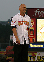 August 29, 2003:  Cal Ripken Jr. is inducted into the Rochester Red Wings Hall of Fame before an International League game at Frontier Field in Rochester, NY.  Photo by:  Mike Janes/Four Seam Images
