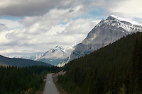 Spectacular rocky mountains along the Icefield Parkway in Jasper National Park, Canada