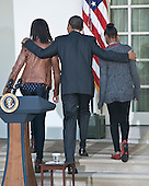 United States President Barack Obama, center, along with his daughters Malia, left, and Sasha, right, depart after participating in the annual White House ritual of granting a Presidential Pardon to the National Thanksgiving Turkey in the Rose Garden of the White House in Washington, D.C. on Wednesday, November 21, 2012.  This year's turkey, Cobbler, is 19-weeks old and weighs 40 pounds (18kg).  Cobbler, and his alternate, Gobbler, were named from submissions from elementary schools in Rockingham County, Virginia, where the turkeys were raised.  Following the pardoning ceremony, Cobbler and Gobbler will live out their lives at George Washington's Mount Vernon Estate and Gardens in Mount Vernon, Virginia.  .Credit: Ron Sachs / CNP