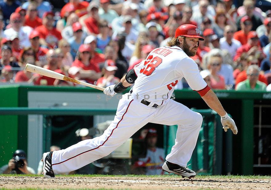 Washington Nationals Jayson Werth (28) during a game against the St. Louis Cardinals on April 24, 2013 at Nationals Park in Washington DC. The Cardinals beat the Nationals 4-2.