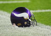 Dec 6, 2009; Glendale, AZ, USA; Detailed view of a Minnesota Vikings helmet against the Arizona Cardinals at University of Phoenix Stadium. The Cardinals defeated the Vikings 30-17. Mandatory Credit: Mark J. Rebilas-