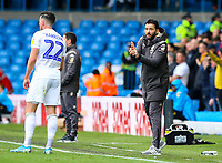 Leeds United's Carlos Corberan shouts instructions to Stuart Dallas from the technical area<br /> <br /> Photographer Alex Dodd/CameraSport<br /> <br /> The EFL Sky Bet Championship - Leeds United v Birmingham City - Saturday 19th October 2019 - Elland Road - Leeds<br /> <br /> World Copyright © 2019 CameraSport. All rights reserved. 43 Linden Ave. Countesthorpe. Leicester. England. LE8 5PG - Tel: +44 (0) 116 277 4147 - admin@camerasport.com - www.camerasport.com