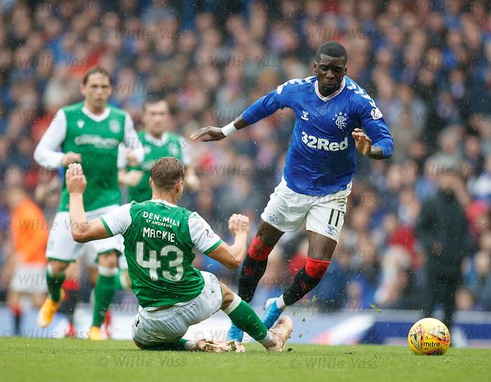 11.08.2019 Rangers v Hibs: Sean Mackie fouls Sheyi Ojo
