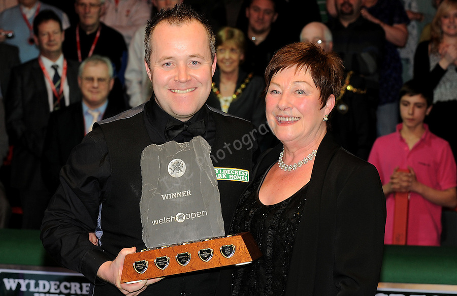 John Higgins (Sco) with his mother Josie after winning the Welsh Open 2011 ..World Snooker - Wyldecrest Park Homes Welsh Open 2011 Final (Afternoon session) - 20-Feb-2011 - John Higgins (Sco) v Stephen Maguire (Sco) - Newport Leisure Centre - Newport..PLEASE CREDIT : Ian Cook IJC Sports .© IJC Sports - www.ijcsports.co.uk