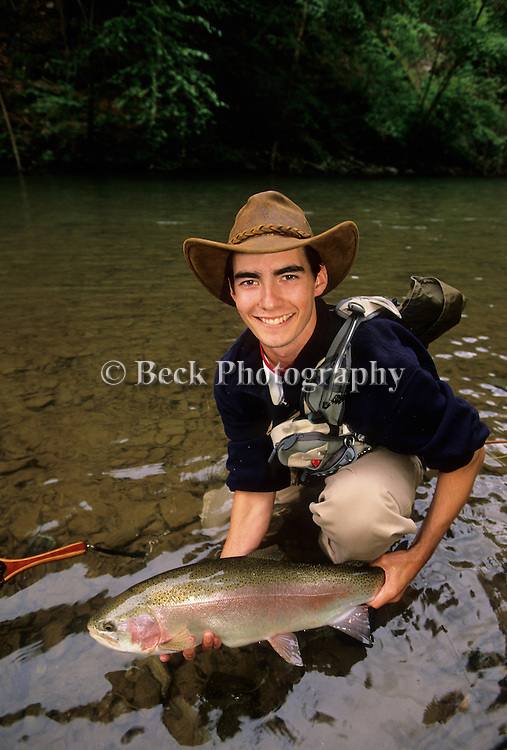 Jonas Clark and a rainbow trout.