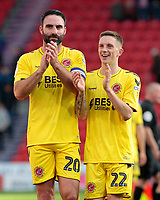 Fleetwood Town's Craig Morgan & Ashley Hunter are all smiles at the final whistle<br /> <br /> Photographer David Shipman/CameraSport<br /> <br /> The EFL Sky Bet League One - Doncaster Rovers v Fleetwood Town - Saturday 6th October 2018 - Keepmoat Stadium - Doncaster<br /> <br /> World Copyright © 2018 CameraSport. All rights reserved. 43 Linden Ave. Countesthorpe. Leicester. England. LE8 5PG - Tel: +44 (0) 116 277 4147 - admin@camerasport.com - www.camerasport.com